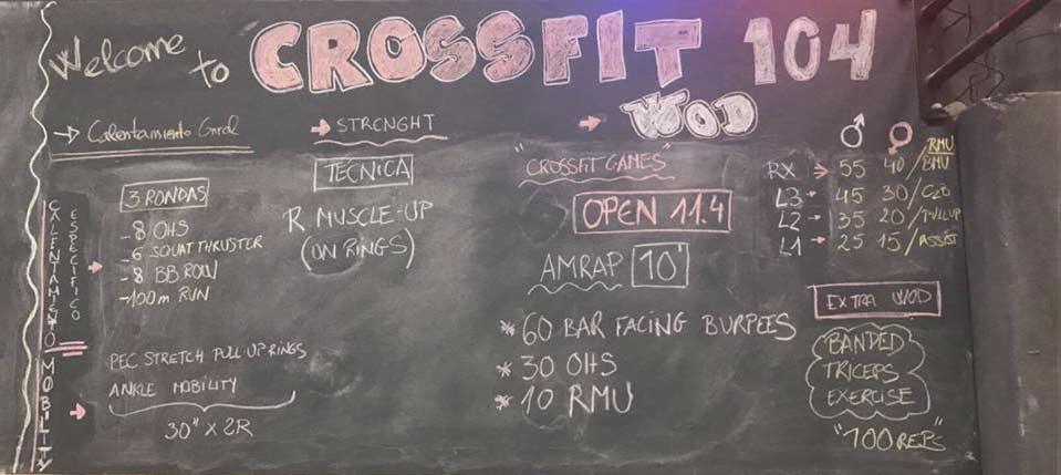 Tabla ejercicios crossfit
